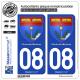 2 Autocollants plaque immatriculation Auto 08 Charleville-Mézières - Armoiries