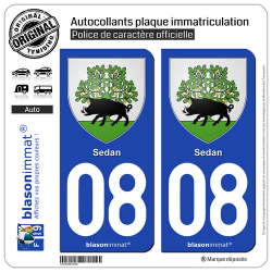 2 Autocollants plaque immatriculation Auto 08 Sedan - Armoiries