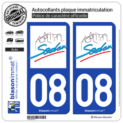 2 Autocollants plaque immatriculation Auto 08 Sedan - Ville
