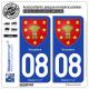 2 Autocollants plaque immatriculation Auto 08 Vouziers - Armoiries