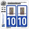 2 Autocollants plaque immatriculation Auto 10 Bar-sur-Aube - Ville