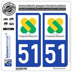 2 Autocollants plaque immatriculation Auto 51 Champagne-Ardenne - LogoType