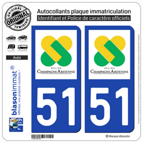 2 Autocollants plaque immatriculation Auto 51 Champagne-Ardenne - LogoType