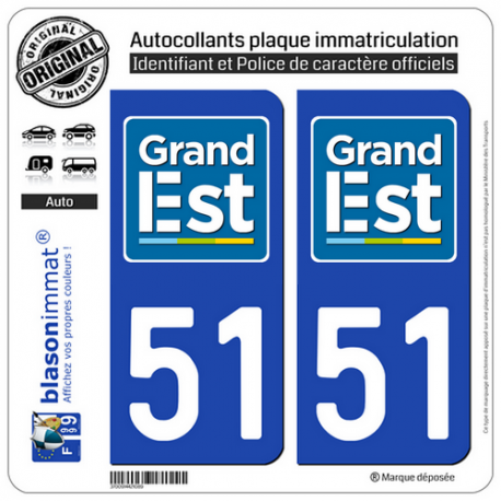 2 Autocollants plaque immatriculation Auto 51 Grand Est - LogoType