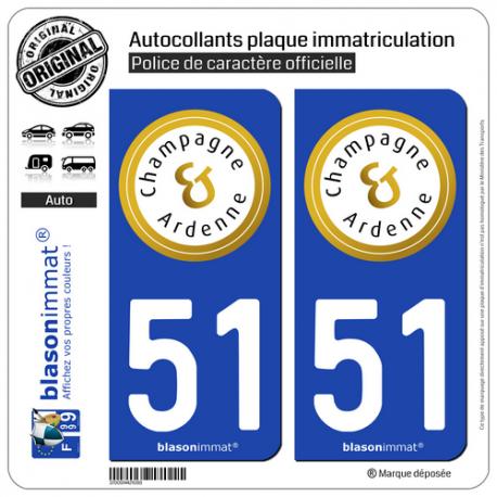 2 Autocollants plaque immatriculation Auto 51 Champagne-Ardenne - Tourisme