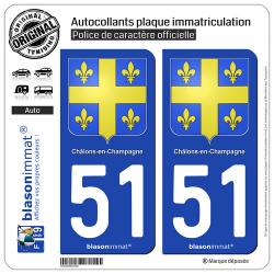 2 Autocollants plaque immatriculation Auto 51 Châlons-en-Champagne - Armoiries