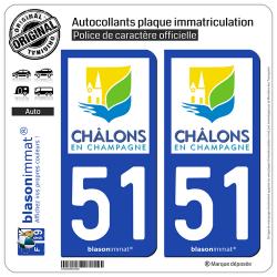 2 Autocollants plaque immatriculation Auto 51 Châlons-en-Champagne - Ville