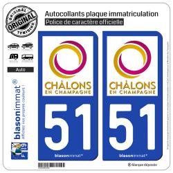 2 Autocollants plaque immatriculation Auto 51 Châlons-en-Champagne - Agglo