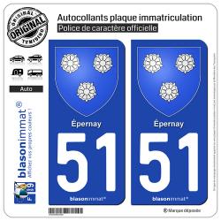 2 Autocollants plaque immatriculation Auto 51 Épernay - Armoiries