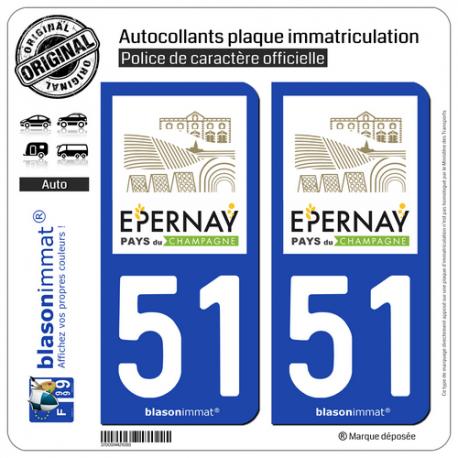 2 Autocollants plaque immatriculation Auto 51 Épernay - Agglo