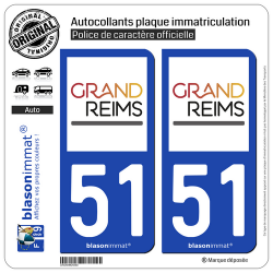 2 Autocollants plaque immatriculation Auto 51 Reims - Agglo