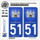 2 Autocollants plaque immatriculation Auto 51 Sainte-Ménehould - Armoiries