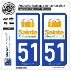 2 Autocollants plaque immatriculation Auto 51 Sainte-Ménehould - Ville