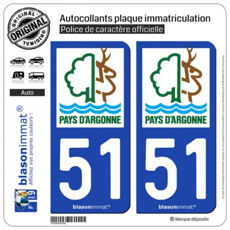 2 Autocollants plaque immatriculation Auto 51 Sainte-Ménehould - Tourisme