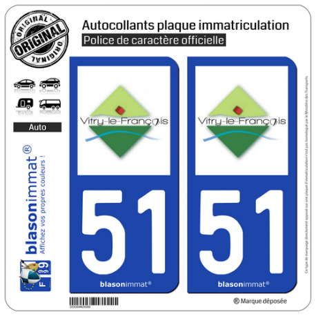 2 Autocollants plaque immatriculation Auto 51 Vitry-le-François - Agglo