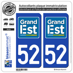 2 Autocollants plaque immatriculation Auto 52 Grand Est - LogoType