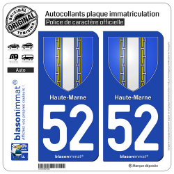 2 Autocollants plaque immatriculation Auto 52 Haute-Marne - Armoiries