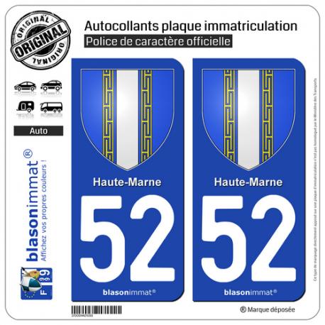 2 Autocollants plaque immatriculation Auto 52 Haute-Marne - Armoiries