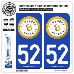 2 Autocollants plaque immatriculation Auto 52 Champagne-Ardenne - Tourisme