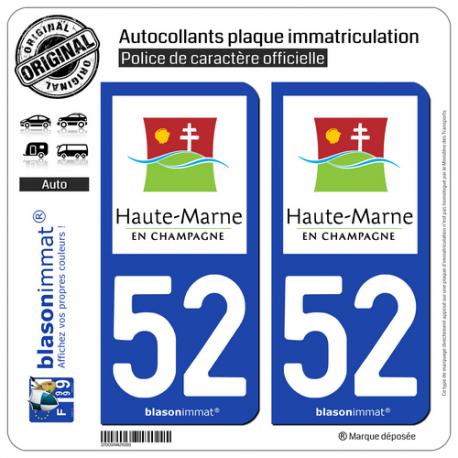 2 Autocollants plaque immatriculation Auto 52 Haute-Marne - Tourisme