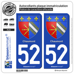 2 Autocollants plaque immatriculation Auto 52 Chaumont - Armoiries