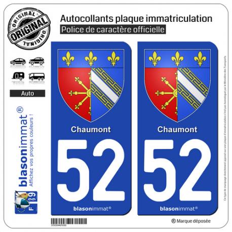 2 Autocollants plaque immatriculation Auto 52 Chaumont - Armoiries