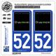 2 Autocollants plaque immatriculation Auto 52 Chaumont - Ville