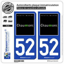 2 Autocollants plaque immatriculation Auto 52 Chaumont - Ville