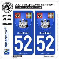 2 Autocollants plaque immatriculation Auto 52 Saint-Dizier - Armoiries