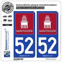 2 Autocollants plaque immatriculation Auto 52 Saint-Dizier - Ville