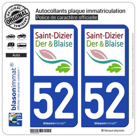 2 Autocollants plaque immatriculation Auto 52 Saint-Dizier - Tourisme