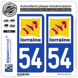 2 Autocollants plaque immatriculation Auto 54 Lorraine - LogoType