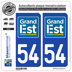2 Autocollants plaque immatriculation Auto 54 Grand Est - LogoType