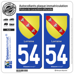 2 Autocollants plaque immatriculation Auto 54 Lorraine - Armoiries