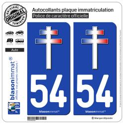 2 Autocollants plaque immatriculation Auto 54 Croix de Lorraine