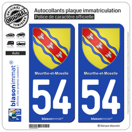 2 Autocollants plaque immatriculation Auto 54 Meurthe-et-Moselle - Armoiries