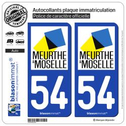 2 Autocollants plaque immatriculation Auto 54 Meurthe-et-Moselle - Département