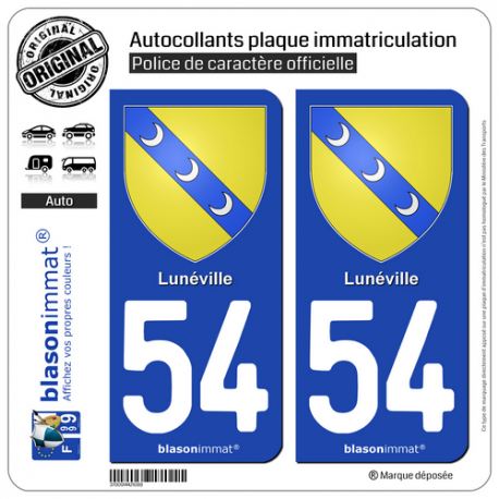 2 Autocollants plaque immatriculation Auto 54 Lunéville - Armoiries
