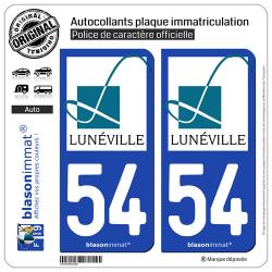 2 Autocollants plaque immatriculation Auto 54 Lunéville - Ville