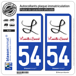 2 Autocollants plaque immatriculation Auto 54 Lunéville - Agglo