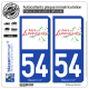 2 Autocollants plaque immatriculation Auto 54 Lunéville - Pays