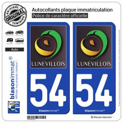 2 Autocollants plaque immatriculation Auto 54 Lunéville - Tourisme