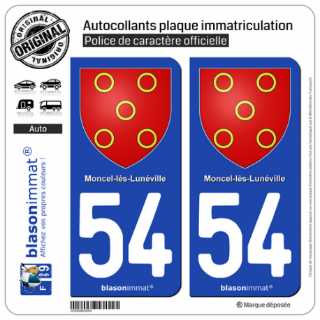 2 Autocollants plaque immatriculation Auto 54 Moncel-lès-Lunéville - Armoiries