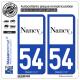 2 Autocollants plaque immatriculation Auto 54 Nancy - Ville