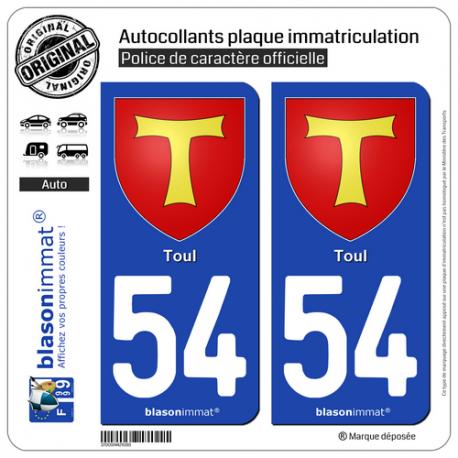 2 Autocollants plaque immatriculation Auto 54 Toul - Armoiries