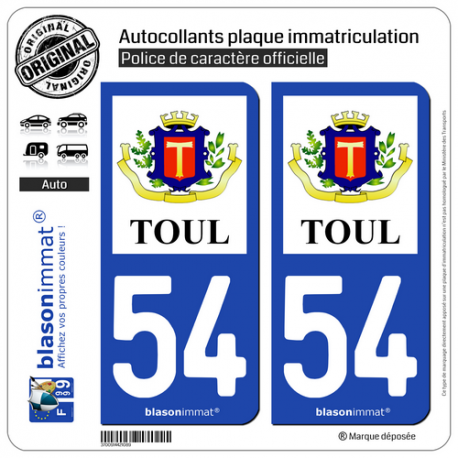2 Autocollants plaque immatriculation Auto 54 Toul - Armoiries II