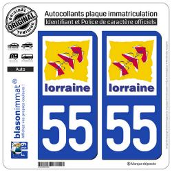 2 Autocollants plaque immatriculation Auto 55 Lorraine - LogoType