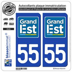 2 Autocollants plaque immatriculation Auto 55 Grand Est - LogoType