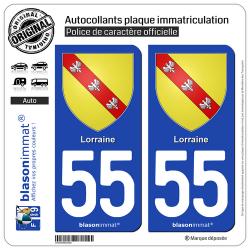 2 Autocollants plaque immatriculation Auto 55 Lorraine - Armoiries