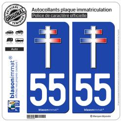 2 Autocollants plaque immatriculation Auto 55 Croix de Lorraine
